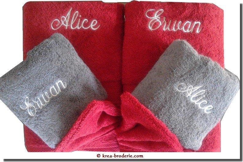 kr a broderie coffret duo serviettes de toilette personnalis es brod es elle et lui 1. Black Bedroom Furniture Sets. Home Design Ideas