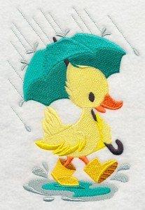 serviette de toilette brodée du motid canard - rainy duck et personnalisable d'un prénom